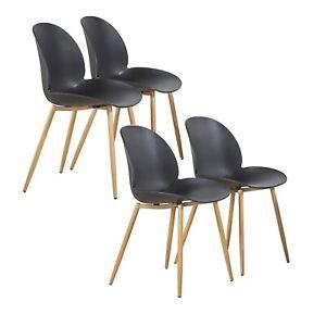 4er Stuhl Set Beine aus Metallfür Esszimmer Wohnzimmer Büro Küchen schwarz