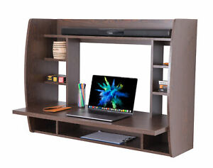 New Basicwise Wall Mount Laptop Office Desk with Shelves