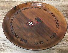 Zur Erinnerung Wood Plaque Plate Jahr Eidgenossen Swiss Motto 1353-1953 Crest