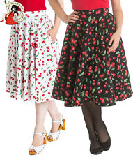 HELL BUNNY SWEETIE circular SKIRT CHERRY rockabilly 50s SUMMER WHITE XS-4XL