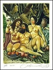 Kirnitskiy Sergey 2014 Exlibris C4 Mythology Lot and Daughters Erotic Nude 226