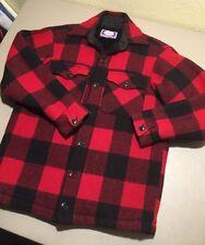 Vtg Carter's Sons Red Buffalo Plaid Wool Cruiser M Jacket Shirt FLEECE LINED S