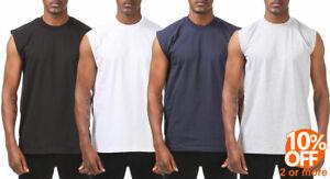 Mens Heavyweight Sleeveless Muscle T-Shirt Tank Top Active Gym Workout Tee