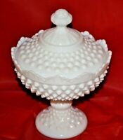 Vintage Fenton Hobnail White Glass Compote Pedestal Candy Dish Bowl Covered Lid