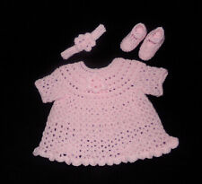 Crochet Pink Baby or Reborn Doll Dress Headband and Shoes Handmade 3-6 months