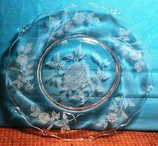 """7 Vintage Heisey Etch #515, Etched Rose Design Crystal 7 3/8"""" Salad Plate"""