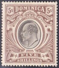DOMINICA 1907-08 KEVII 5s SG46. WM MULTI CROWN CA. CAT £75. MH/HR