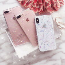 For iPhone XS Max XR X 7 8 6s Cute Bling Glitter Slim TPU Soft Clear Case Cover