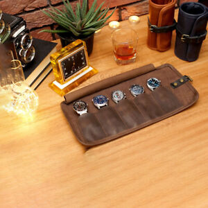 Leather Watch Roll Travel Storage Pouch Roll Case 5 Slots