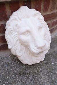 Lion Head Concrete Sculpture Plaque Wall Fountain Relief Spout (White)