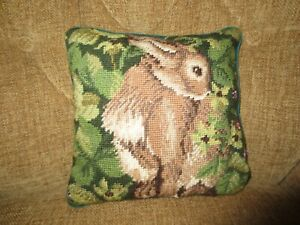 "Beatrix Potter PETER RABBIT NEEDLEPOINT PILLOW w/Zip Off Cover--10"" x 10"""