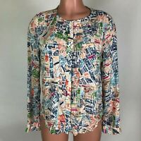MAEVE Anthropologie Womens Blouse Shirt Top Cartography London Map Print Size 4