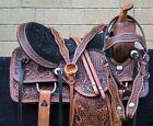 HORSE SADDLE WESTERN USED TRAIL BARREL ANTIQUE TOOLED LEATHER TACK 16 17 18