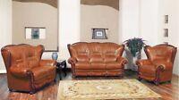 Bella Cognac Leather Italian Design 3pc Sofa Set w/ Cherry Finished Wood Accents