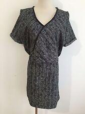MAISON SCOTCH Star de la Saison Sample Faux Wrap Dress Black & Gray Size M/L