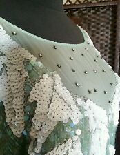 Mint Green Short Sleeve Beaded Silk Dress w Sequins, Rhinestones VTG J. K. Laing