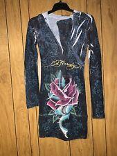 Ed Hardy Hooded Sweater Dress Womens Small