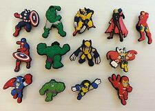 13 x Avengers Shoe Charms Captain America Ironman Thor The Hulk Wolverine Clogs