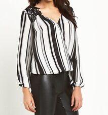 Waist Length V Neck Blouses Striped Tops & Shirts for Women