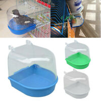 Bird Water Bath Tub For Pet Bird Cage Hanging Bowl Parrots Parakeet Birdbath PVC