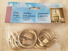 "Levolor Curtain Rod Clip Rings 3/4"" to 1"" Rods Brushed Gold 7 Clips New"