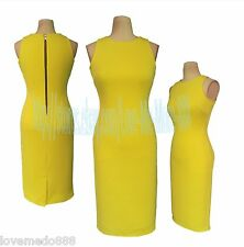 WOMENS Plain BUSINESS wear TO work stretch fit PARTY MIDI BODYCON DressES LARGE