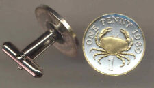 Gold And Silver Guernsey Penny Crab Coin Cuff Links, 161CF