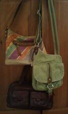 Set of 3 Mint FOSSIL Purses Handbags Shoulder Messenger Bags Leather Fabric NICE