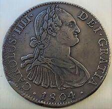 8 reales 1804 TH Carlos IV HISPAN Mexico Colonial Very Nice Grade !! KM# 109
