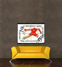 POSTER PRINT GIANT POSTAGE STAMP USSR SPORT ICE HOCKEY MOSCOW 15 KOPEK PAMP154