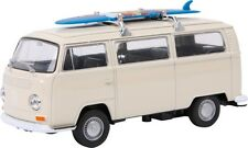 VW Camper Van Diecast Model White 1972 T2 Surfboard Bus Boxed 1:34 Collectors