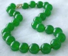 "10MM natural green jade gemstone beads necklace 18"""