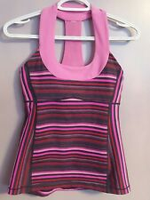 Lululemon Pink Stripe Elevation Space Dye Scoop Neck Tank Top sz 4 Yoga