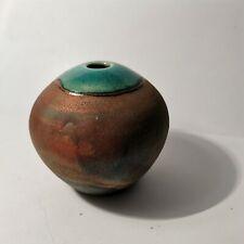 EELES family studio pottery RAKU pot / bud vase 7.5cm tall