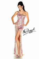 New MAC DUGGAL 3704L Nude Sequin One Shoulder Pageant Prom Evening Dress Size 4