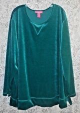 4X WOMAN WITHIN Soft Velour Teal Green Long Sleeve Women Plus Size Tunic Top
