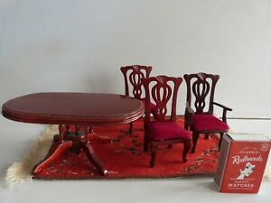 Doll's House furniture Wooden Table, 3 Chairs & a Rug.
