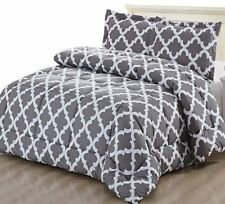 Printed Comforter Set (Grey, Queen) with 2 Pillow Shams - Luxurious Soft Brushed