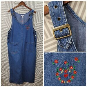 Vintage Embroidered Size Large Denim Overall Dress Jean Pockets Modest Buckle