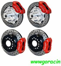 """WILWOOD DISC BRAKE KIT,1953-1962 CHEVY CORVETTE,12"""" Drilled Rotors,Red Calipers"""