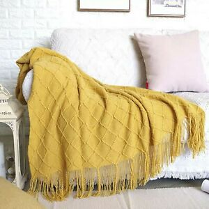 """Soft Throw Blanket Warm Knit Textured Solid for Bed Sofa Couch Washable 50x67"""""""