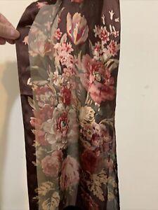 LAUREN Ralph Lauren maroon 100% silk oblong scarf romantic floral print & Velvet