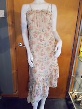 Authentic Style Fully Lined Strappy Floral Asymmetric Dress 8 Beige Mix BNWT
