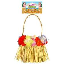 Hula Bag With Flowers Hawaiian Fancy Dress Beach 13 X 15cm