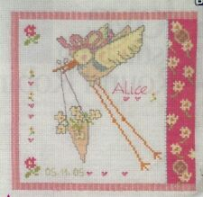 Cross stitch chart NUOVO BAMBINO NASCITA campionatore grafici CICOGNA NUOVO ARRIVO grafici