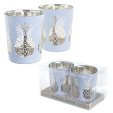 Set of 2 Metallic Pineapple Tealight Holders - Glass Design Votive Tropical