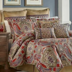 NIP Croscill Home Margaux Red Brown Blue Medallion Queen Comforter Set 4pc