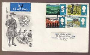GB FDC 1966 sc#454-457 Views, Stuart cachet, airmail to USA