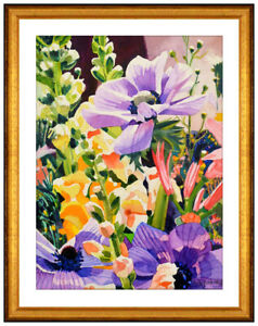David Barba Original Watercolor Painting Signed Floral Still Life Framed Artwork