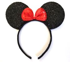 1 PC MICKEY MINNIE MOUSE GLITTER EARS HEADBAND RED SEQUIN BOW HAIR ACCESSORIES